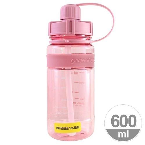 A0809【Everyday】矽膠止滑彈跳太空壺(附背帶)600ml-粉色