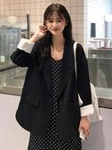 韓版休閒小西服外套寬鬆中長款黑色西裝上衣女(快速出貨)