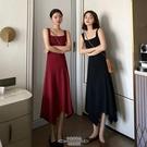 針織洋裝 春秋韓版新款方領氣質修身顯瘦中長款不規則針織吊帶連衣裙女 - 古梵希