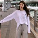 【Charm Beauty】白色 打底衫 長袖t恤女 ins網紅 超火 上衣cec港味 女裝 2021年 春秋 新款