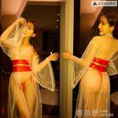 情趣內衣透明薄紗新娘復古長裙飄紗和服浴袍誘惑長袖V領人氣套裝 鹿角巷