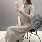 中長款毛衣女寬松外穿半高領打底衫秋冬2020年新款過膝針織連衣裙