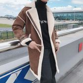 大衣外套 冬季中長款加絨加厚風衣韓版修身麂皮絨羊羔絨毛呢大衣 萬客居