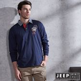 【JEEP】經典美式撞色領徽章長袖POLO衫 (海軍藍)