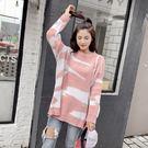 VK精品服飾 韓系慵懶風雲彩針織衫長袖上衣