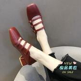瑪麗珍鞋 瑪麗珍鞋女2019秋季新款百搭復古方頭兩穿粗跟單鞋女中跟網紅穆勒 3色35-40