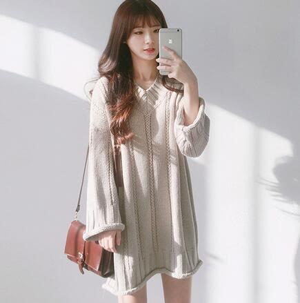 【TU11】長版上衣 韓版V領純色寬鬆百搭長袖中長款毛衣裙 連身裙 針織衫 洋裝6551