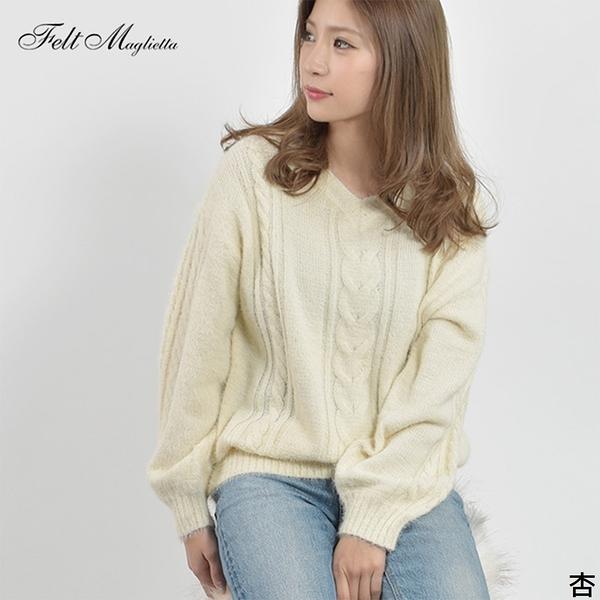 東京著衣-Felt maglietta-V領蓬蓬袖麻花紋縲縈針織上衣-M(Z200013)