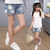 女童牛仔短褲夏裝正韓時尚破洞中大童兒童小孩薄款外穿潮 童趣潮品
