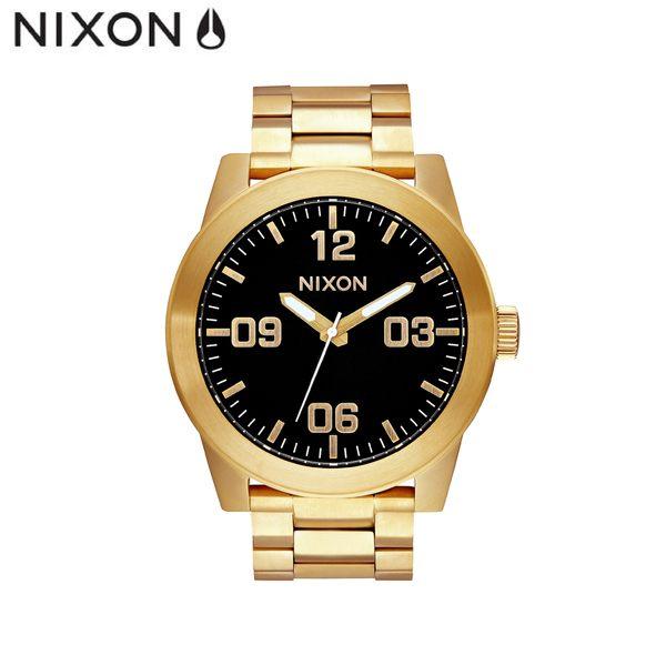 NIXON 手錶 原廠總代理 A346-510 CORPORAL SS 金色 潮流時尚鋼錶帶 男女  生日 情人節禮物