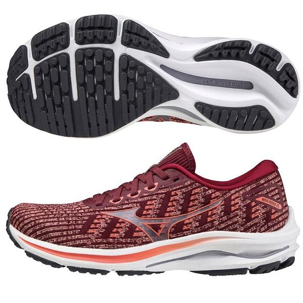 MIZUNO WAVE RIDER 25 WAVEKNIT 女鞋 慢跑 3E寬楦 ENERZY 編織 紅【運動世界】J1GD217763