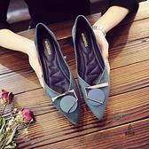 淺口平底鞋尖頭單鞋百搭女鞋瓢鞋子【愛物及屋】