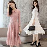 蕾絲連身裙女中長款收腰裝新款韓版修身顯瘦氣質大擺裙子   遇見生活