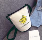 包包 卡通學院風單肩包斜挎包帆布包水桶圓包女包小挎包