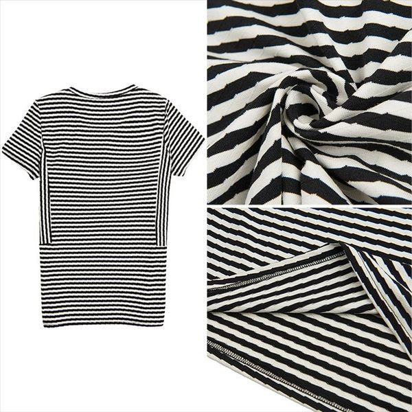 找到自己 G5 韓國時尚 條紋 T恤 圓領 短袖 純棉 小衫 百搭 打底衫