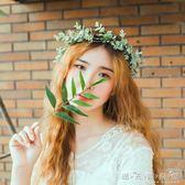森系清新文藝仿真綠葉花環新娘頭飾伴娘花童結婚紗髮飾拍照度假 晴天時尚館
