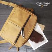 牛皮/斜背包【CALTAN】時尚簡約款雙拉鍊斜背包- 5117ht