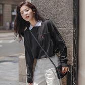 秋季長袖t恤女2019新款潮韓版百搭學院風寬鬆顯瘦學生體恤衫上衣