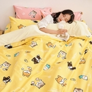 床包被套組 / 雙人加大【逗柴貓黃】含兩件枕套 高密度磨毛布 戀家小舖台灣製 柴犬 貓