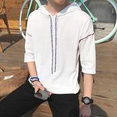 夏季男裝新款港風短袖男士T恤寬鬆中袖連帽上衣服boy體恤學生【全館免運可批發】