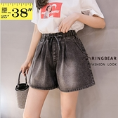 牛仔短褲--舒適顯瘦高腰A字抽繩鬆緊褲頭刷色牛仔褲裙(黑M-5L)-R255眼圈熊中大尺碼◎