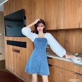熱賣胖MM大碼女裝法式小眾復古方領泡泡袖收腰連身裙假兩件拼接牛仔裙 萊俐亞 交換禮物