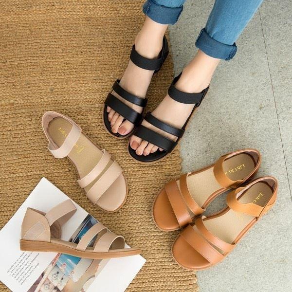 厚底鞋.MIT百搭鬆緊帶皮革雙線條平底涼鞋.白鳥麗子