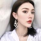 項? 韓國網紅超仙名媛氣質冷淡風大小珍珠串流蘇長款耳釘耳環 米希美衣