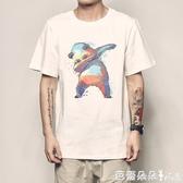 夏季熊貓印花短袖上衣寬鬆男生衣服情侶圓領純棉半袖【快速出貨】