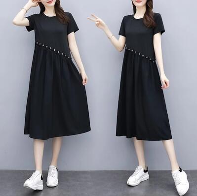 M-5XL胖妹妹大碼洋裝連身裙~大碼連衣裙雪紡短袖黑色長裙胖MM遮肚子長款裙子4F062A莎菲娜