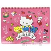 〔小禮堂]Hello Kitty 橫式線圈空白頁塗鴉本《粉.招手》畫本.繪圖本.記事本 4713791-95863