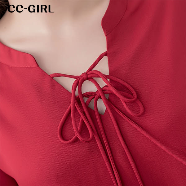 中大尺碼 氣質綁帶荷葉袖V領上衣~共兩色 - 適XL~4L《 64787G 》CC-GIRL 新品