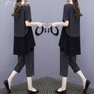 套裝短袖七分褲運動套裝女夏季21新款兩件套時尚大碼寬鬆休閒運動服 快速出貨
