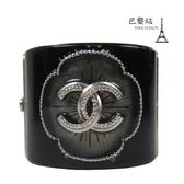 【巴黎站二手名牌專賣店】*現貨*CHANEL 香奈兒 真品*經典雙C LOGO金屬花朵造型寬版手環
