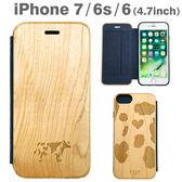 Hamee 日本 天然素材楓木 動物紋立體設計 iPhone7/6s/6 側翻式 手機殼 附票卡夾 (乳牛) 151-456357