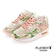 PLAYBOY 注目潮流 迷彩拼接氣墊運動鞋-粉彩