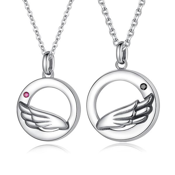 AchiCat 情侶項鍊 925純銀項鍊 比翼雙飛 翅膀單鑽對鍊 送刻字 單個價格 CS9003