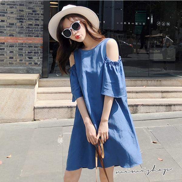 孕婦裝 MIMI別走【P52702】艾瑪的午後日 露肩牛仔棉連衣裙 孕婦裙 寬版舒適