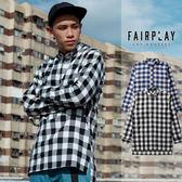 【GT】FairPlay Remi 黑藍 長袖襯衫 格紋 格子 棉質 修身 休閒 長版 美牌 現貨 前短後長