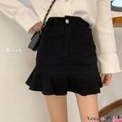熱賣半身魚尾裙 2021新款韓版春季荷葉邊半身裙女裝魚尾裙子高腰黑色A字包臀短裙 coco