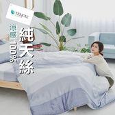 #TCL06#奧地利100%TENCEL涼感純天絲5尺標準雙人床包枕套+舖棉涼被組/床單 空調被 四季被