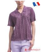 法國製造短袖POLO 夢特嬌亮絲系列女款衫時尚蝴蝶印花-紫色