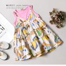純棉 粉嫩假兩件彩繪水果無袖蛋糕裙 洋裝 連身裙 細肩帶 渡假風 女童裝 女童洋裝 洋裝上衣