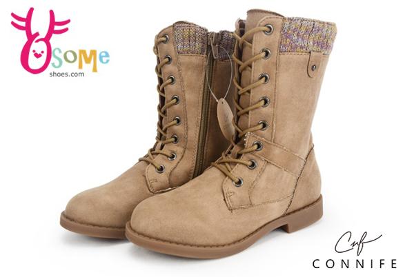 女童靴 皮革拼接布 絨毛保暖 帥氣軍靴 CONNIFE休閒個性靴  M8038#棕色◆OSOME奧森鞋業
