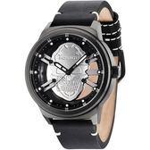【台南 時代鐘錶 POLICE】義式潮流 暗黑風格骷髏標誌 鏤空時尚腕錶 14685JSB-61 皮帶 黑鋼 48mm