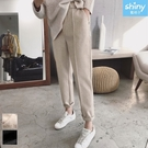 【V3270】shiny藍格子-完美顯瘦.高腰毛呢寬鬆直筒小腳西裝褲