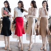 包臀裙OL半身裙S-3XL1078合金飾品百搭包臀裙女時尚職業半身裙修身高腰開叉中長裙D734依佳衣