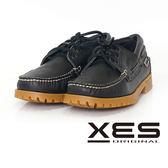 XES 男鞋 經典 時尚雷根帆船鞋 防滑舒適大底_率性黑