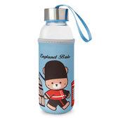 (滿3件$399)英國貝爾熊隨身玻璃瓶(淺藍)~指定商品需滿3件以上才可出貨