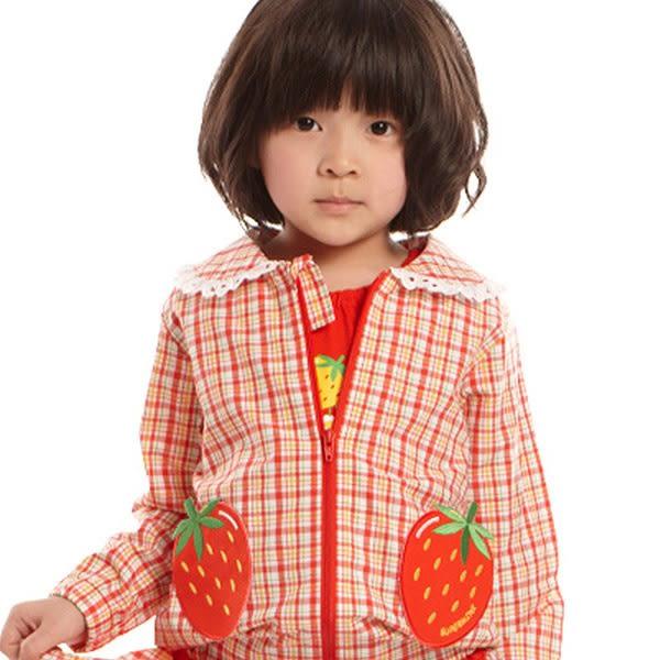 【愛的世界】純棉格紋草莓口袋長袖外套/2歲-台灣製- ★春夏外套 outlet零碼